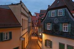 Lato wieczór w historycznym centrum Bamberg Niemcy bavaria fotografia stock