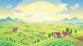 Lato wiejski krajobraz z wioską ilustracja wektor