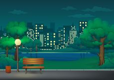 Lato, wiosny nocy parka wektoru ilustracja Ławka, kosz na śmieci i latarnia uliczna na parkowym śladzie z, jeziorem i pejzażem mi ilustracja wektor