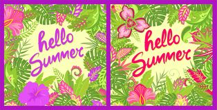 Lato wita kwieciste kolorowe karty z lata literowaniem, tropikalnymi liśćmi, poślubnikiem i innymi egzotów kwiatami dla torby royalty ilustracja