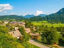 Lato witki zieleni górkowaty krajobrazowy pole, lasy, niebieskie niebo i biel chmury, Zdjęcie Royalty Free