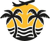Lato wjazd z samolotem - palmy, morze, słońce ilustracji