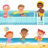 Lato wodne gry w aquapark Kreskówek ilustracje śmieszni dzieciaki ilustracji