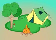 Lato wycieczkuje - ilustracja z namiotem, drzewem i ogniskiem, wektor ilustracji