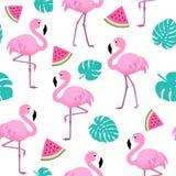 Lato wzór z flamingami, arbuzem i tropikalnymi liśćmi, tekstura bezszwowy wektor Obraz Stock