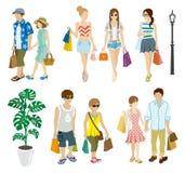 Lato zakupy ludzie ustawiający - Młodzi dorosli ilustracja wektor