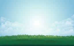 Lato zielona łąka i halnych szczytów krajobraz z zmierzchem również zwrócić corel ilustracji wektora royalty ilustracja