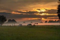 Lato zmierzch w Kaluga regionie, Rosja Zdjęcia Royalty Free