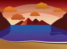 Lato zmierzchu tło plaża z falami, chmury ilustracji