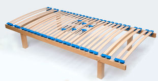Latoflex, birch, wood slats. Mattress wood bed frame modern Stock Images