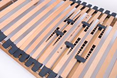 Latoflex, birch, wood slats. Mattress wood bed frame modern Stock Image