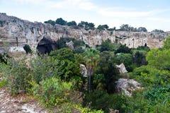 Latomia del Paradiso谷,西勒鸠斯,西西里岛,意大利 库存照片