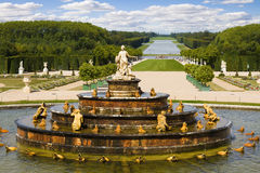 Latona Fountain, Versailles Chateau. And great perspective of Versailles Chateau gardens. France series stock images