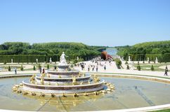 Latona  fountain at Versailles Palace with gardens in background Stock Images