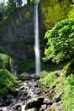 Latourell Falls closeup full in spring on a sunny day Royalty Free Stock Photos