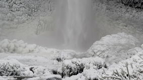 Latourell Falls in Deep Freeze During Winter Season Closeup 1080p Stock Photography