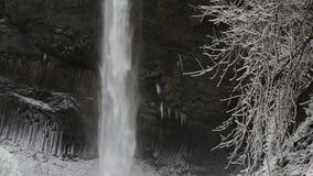 Latourell Falls Frozen in Winter along Columbia River Gorge Portland Oregon 1080p stock video footage