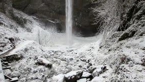 Latourell Falls Frozen in Winter along Columbia River Gorge Portland Oregon Panning 1080p stock video