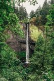 Latourell Falls waterfall along the Columbia River Gorge royalty free stock photography