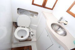 Latrine and shower on sailing boat Royalty Free Stock Photography