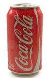 Latta bagnata di coca-cola Fotografia Stock