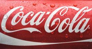 Latta bagnata di coca-cola Fotografia Stock Libera da Diritti