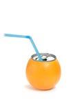 Latta del succo di arancia Fotografia Stock