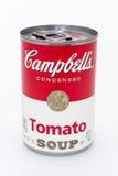 Latta della minestra del pomodoro di Campbell Fotografia Stock