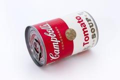 Latta della minestra del pomodoro di Campbell Fotografie Stock Libere da Diritti