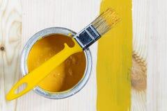 Latta della vernice e della spazzola Immagini Stock