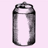 Latta di alluminio aperta per birra, bevanda gassosa Fotografia Stock