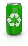 Latta di alluminio con il riciclaggio del simbolo Fotografia Stock Libera da Diritti