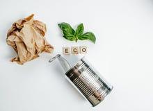 Latta di alluminio e foglia verde sui precedenti bianchi Concetto di Eco Immagine Stock