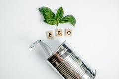Latta di alluminio e foglia verde sui precedenti bianchi Concetto di Eco Immagini Stock