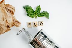 Latta di alluminio e foglia verde sui precedenti bianchi Concetto di Eco Immagine Stock Libera da Diritti