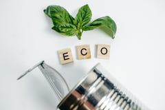 Latta di alluminio e foglia verde sui precedenti bianchi Concetto di Eco Fotografia Stock