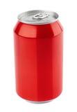 Latta di alluminio rossa su bianco Fotografia Stock