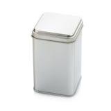 Latta di alluminio su priorità bassa bianca Immagini Stock