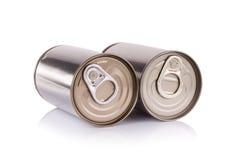 Latta di alluminio su priorità bassa bianca fotografia stock libera da diritti