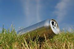 Latta di birra nell'erba Fotografia Stock Libera da Diritti