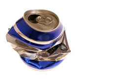 Latta di birra schiacciata Fotografia Stock Libera da Diritti