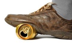 Latta di birra vuota Fotografia Stock Libera da Diritti