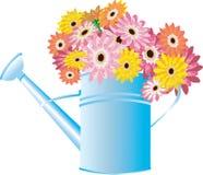 Latta di innaffiatura blu con i fiori illustrazione di stock