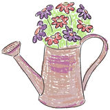 Latta di innaffiatura con i fiori Immagine Stock