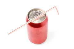 Latta di soda in bianco rossa fotografia stock