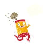 latta di soda pazza del fumetto con la bolla di pensiero Fotografia Stock Libera da Diritti