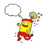 latta di soda pazza del fumetto con la bolla di pensiero Immagine Stock Libera da Diritti