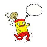 latta di soda pazza del fumetto con la bolla di pensiero Fotografie Stock