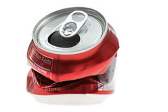 Latta di soda schiacciata Fotografia Stock Libera da Diritti