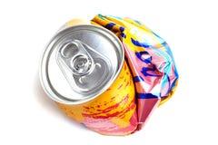 Latta di soda schiacciata Immagini Stock